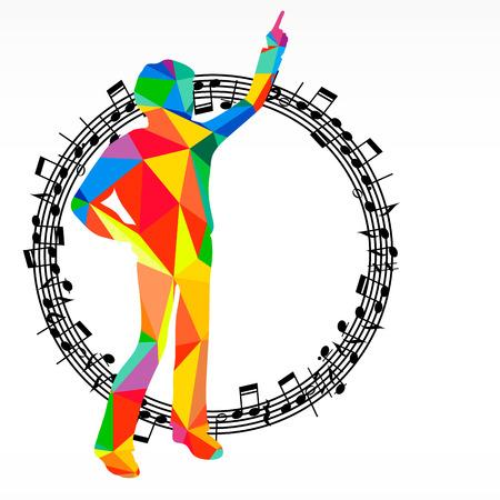 Poligon Silhouette Dancing Human And Melody Circle Vector Music