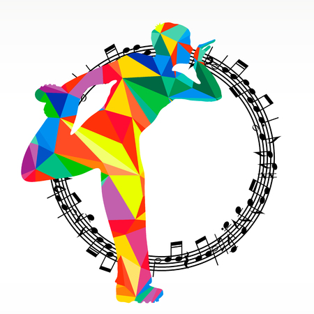 Poligon silhouette dancing human and melody circle, vector music battle party background.