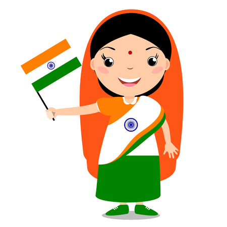 Smiling chilld, girl, holding a India flag isolated on white background. Vector cartoon mascot. Holiday illustration to the Day of the country, Independence Day, Flag Day.