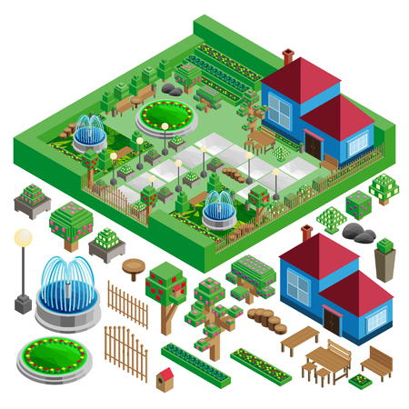 Isometric country house and yard with garden, park; fountains, architecture design elements, vector landscape constructor.