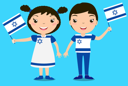 Smiling children, boy and girl, holding a Israel flag isolated on blue background. Vector cartoon mascot. Holiday illustration to the Day of the country, Independence Day, Flag Day.