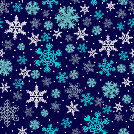 Christmas pattern made of snowflakes and dots, vector winter seamless background with snow, xmas design holiday illustration.