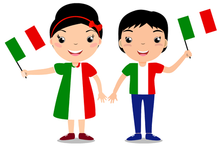 Smiling children, boy and girl, holding a Italy flag isolated on white background. Vector cartoon mascot. Holiday illustration to the Day of the country, Independence Day, Flag Day.