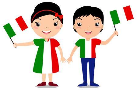 Sonriendo a niños, muchacho y muchacha, sosteniendo una bandera de Italia aislada en el fondo blanco. Vector mascota de dibujos animados. Ilustración del día de fiesta al día del país, Día de la Independencia, Día de Bandera.