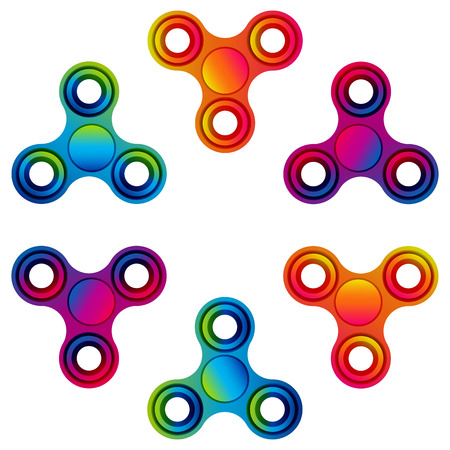 Fidget hand finger spinner stress relieving, colorful toy for removing anxiety and increasing concentration. Illustration