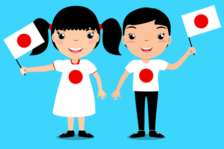 Smiling children, boy and girl, holding a Japan flag isolated on blue background. Vector cartoon mascot. Holiday illustration to the Day of the country, Independence Day, Flag Day.