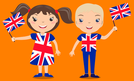 englishman: Smiling children, boy and girl, holding a Great Britain flag isolated on orange background. Vector cartoon mascot. Holiday illustration to the Day of the country, Independence Day, Flag Day. Illustration