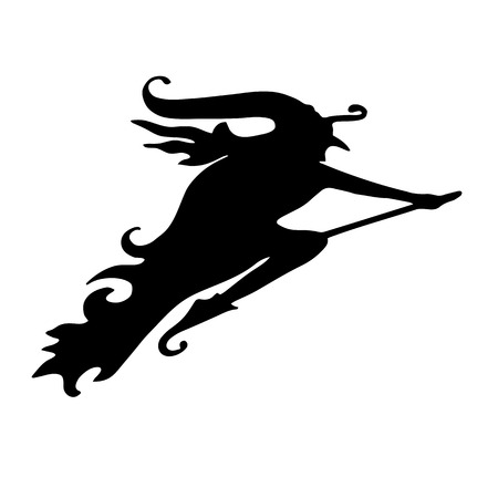 Witch. Silhouette of a woman flying on a broom. Halloween element design.