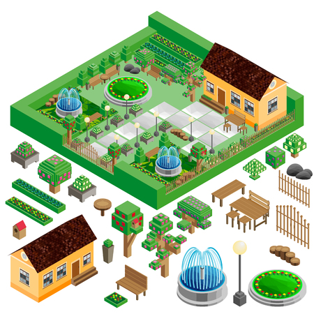 suburban street: Isometric country house and yard with garden, park; fountains, architecture design elements, vector landscape constructor.