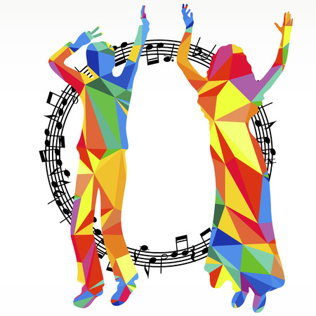 Polygon silhouettes dancing people and melody circle, vector music battle party background.