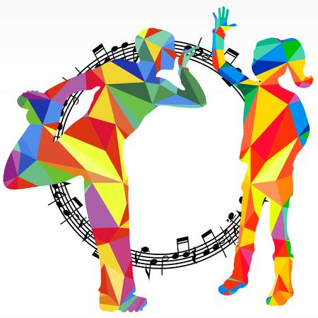 Sagome di poligoni danzando persone e cerchio di melodia, sfondo vettoriale battaglia di musica vettoriale.