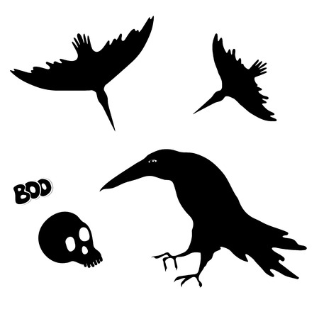 halloween background: Silhouettes of witch ravens and skull. Halloween element design.