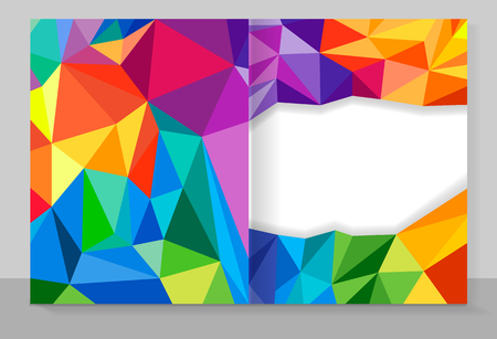 Cover copybook with triangle pattern, abstract background, geometric vector design.