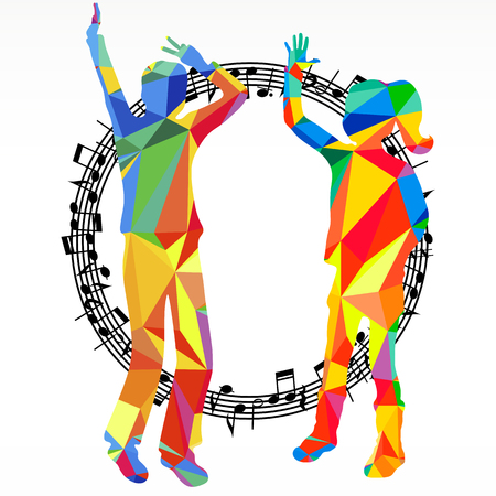 subculture: Polygon silhouettes dancing people and melody circle.