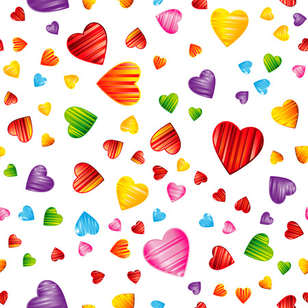 Colorful striped hearts pattern.