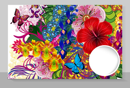 Template cover of a copybook with an trendy design: flowers pattern. Vector illustration. Illustration
