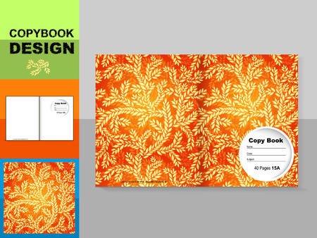 Template cover of a copybook with an trendy design: plant pattern. Vector illustration. Illustration