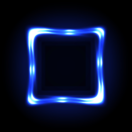 Colorful blue neon frame on a dark background, vector abstract illustration.