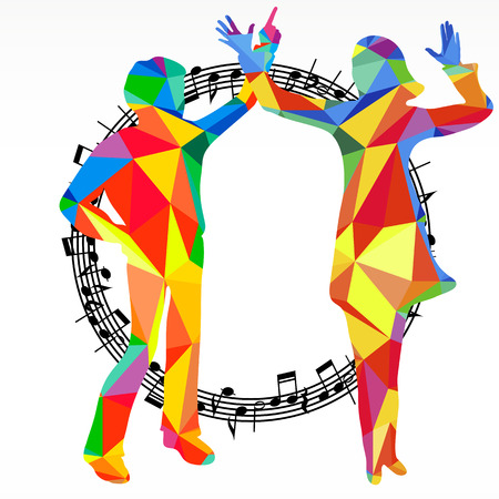 subculture: Polygon silhouettes dancing people and melody circle, vector music battle party background.