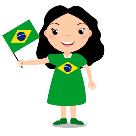 Lächelndes chilld, Mädchen, eine Brasilien-Flagge halten lokalisiert auf weißem Hintergrund. Vektor-Cartoon-Maskottchen. Feiertagsillustration zum Tag des Landes, Unabhängigkeitstag, Flaggentag.