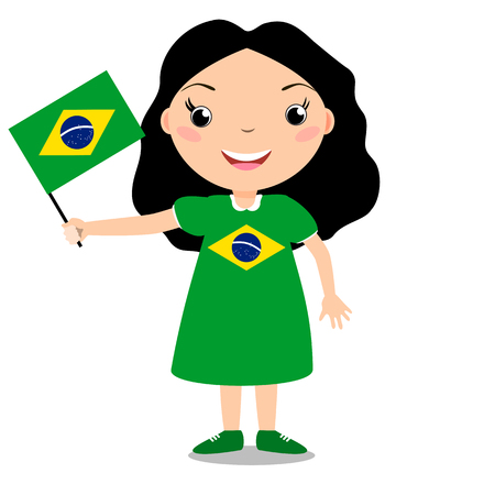 Smiling chilld, girl, holding a Brazil flag isolated on white background. Vector cartoon mascot. Holiday illustration to the Day of the country, Independence Day, Flag Day. Ilustração