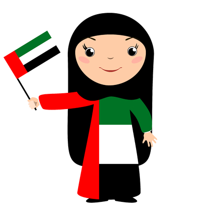 Smiling chilld, girl, holding a UAE flag isolated on white background. Vector cartoon mascot. Holiday illustration to the Day of the country, Independence Day, Flag Day.
