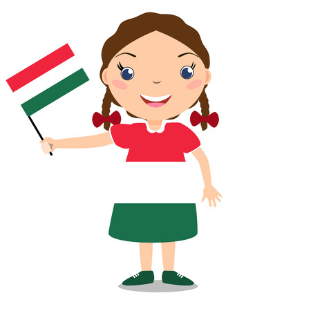 Smiling chilld, girl, holding a Hungary flag isolated on white background. Vector cartoon mascot. Holiday illustration to the Day of the country, Independence Day, Flag Day.