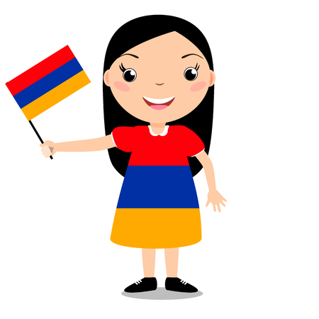 Smiling chilld, girl, holding a Armenia flag isolated on white background. Vector cartoon mascot. Holiday illustration to the Day of the country, Independence Day, Flag Day.