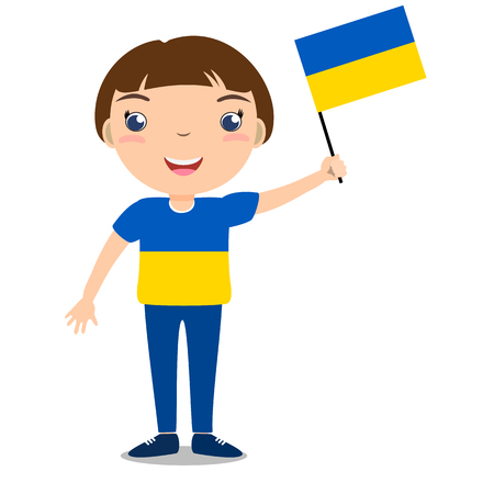 Smiling chilld, boy, holding a Ukraine flag isolated on white background. Vector cartoon mascot. Holiday illustration to the Day of the country, Independence Day, Flag Day.