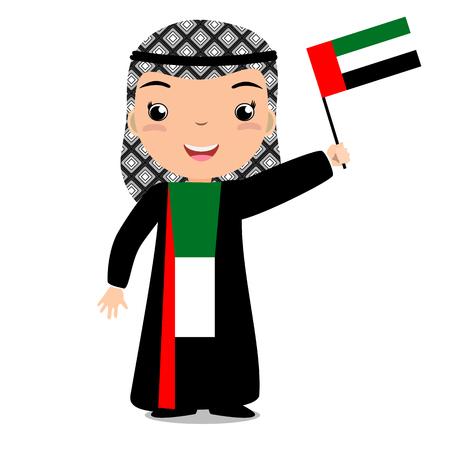 Chilld souriant, garçon, tenant un drapeau des Émirats Arabes Unis isolé sur fond blanc. Mascotte de dessin animé de vecteur. Illustration de vacances à la fête du pays, fête de l'indépendance, fête du drapeau. Banque d'images - 84414602