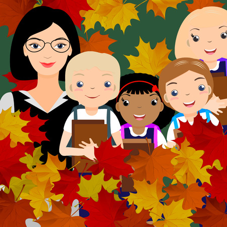 Young female teacher and kid students in front of green chalk board. Autumn red, orange maple leaves. Vector illustration. Illustration