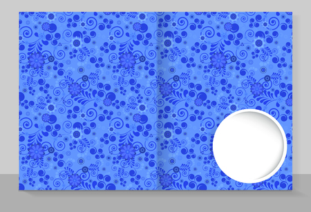Template cover of a copybook with an trendy design: blue floral pattern. Vector illustration.