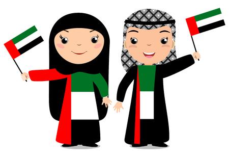 웃는 소녀, 소년과 소녀, 흰색 배경에 고립 된 아랍 에미리트 플래그를 들고. 벡터 만화 마스코트입니다. 국가, 독립 기념일, 플래그 데이의 날 휴일 그 일러스트