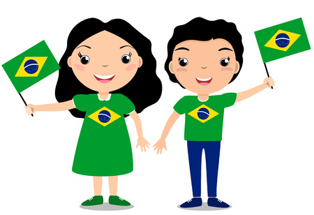 Smiling chilldren, boy and girl, holding a Brazil flag isolated on white background. Vector cartoon mascot. Holiday illustration to the Day of the country, Independence Day, Flag Day. Иллюстрация