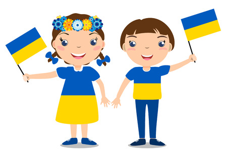 Smiling chilldren, boy and girl, holding a Ukraine flag isolated on white background. Vector cartoon mascot. Holiday illustration to the Day of the country, Independence Day, Flag Day.