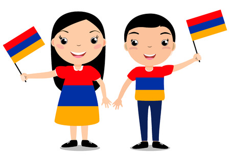 Smiling chilldren, boy and girl, holding a Armenia flag isolated on white background. Vector cartoon mascot. Holiday illustration to the Day of the country, Independence Day, Flag Day. Illustration