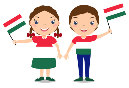 Smiling chilldren, boy and girl, holding a Hungary flag isolated on white background. Vector cartoon mascot. Holiday illustration to the Day of the country, Independence Day, Flag Day. Vektorové ilustrace