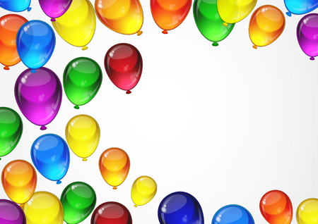 a4 borders: Colorful festive balloons for a birthday party card with space for text.