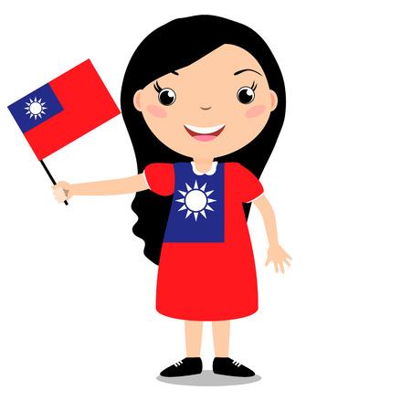 Fille tenant un drapeau de Taiwan