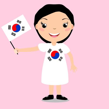 Smiling child, girl, holding a South Korea flag isolated on white background.