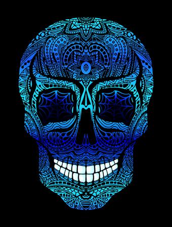 Tattoo skull with blue eyes