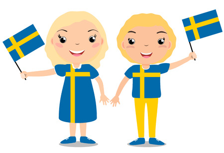 Boy and girl, holding a Sweden flag isolated on white background in celebration of Independence Day.
