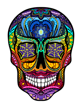 Tattoo colorful skull, black and white vector illustration on white background, Day of the dead symbol. Vettoriali