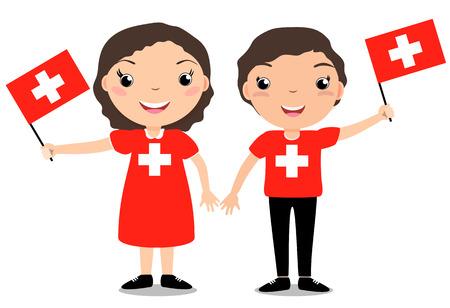 少年と少女、独立記念日のお祝いに白の背景に分離スイスフラグを保持します。