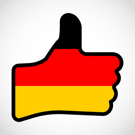 Flag Of Germany In The Shape Of Hand With Thumb Up Gesture Of
