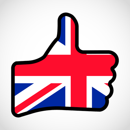 Flag of Great Britain in the shape of Hand with thumb up, gesture of approval, meaning Like, vector finger sign, flat design illustration.