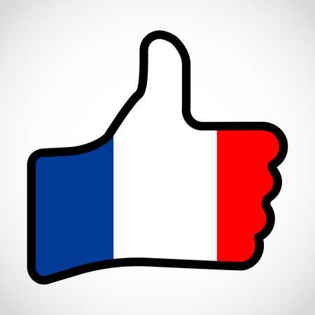 Flag of France in the shape of Hand with thumb up, gesture of approval, meaning Like, vector finger sign, flat design illustration.