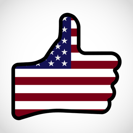 Flag Of America In The Shape Of Hand With Thumb Up Gesture Of