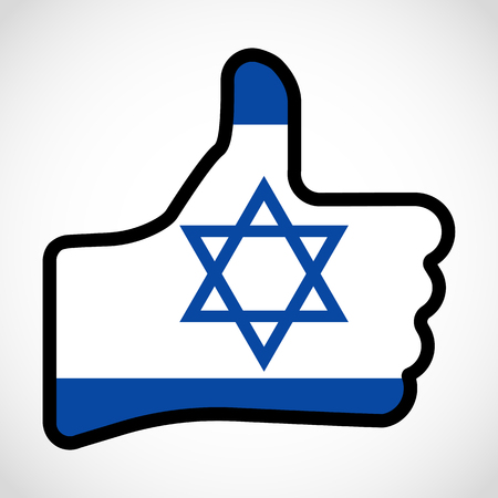 Flag of Israel in the shape of Hand with thumb up, gesture of approval, meaning Like, vector finger sign, flat design illustration.