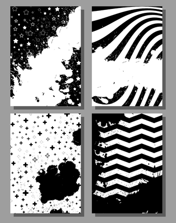 Grunge poster set, striped background with simple geometric elements, patterns fashion trend 80-90s. Vector.